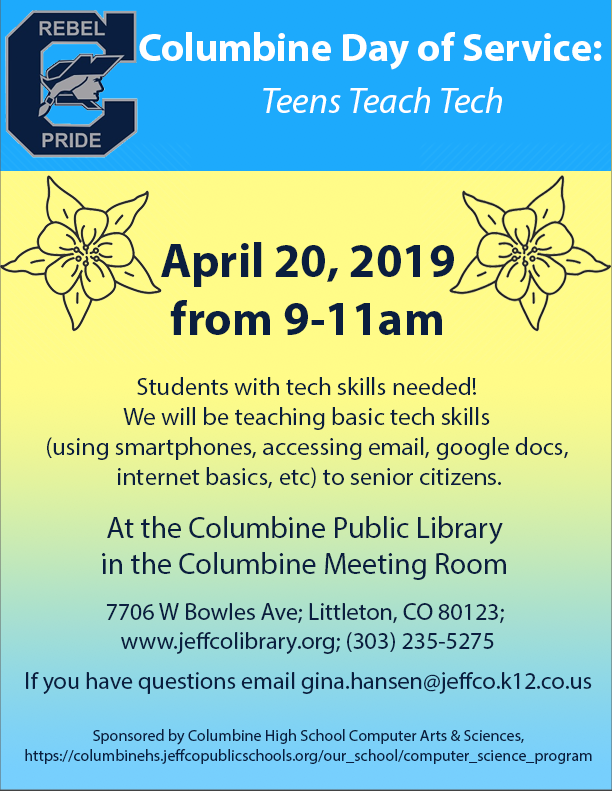Click the image to learn more about our Teach Technology to Seniors project at the Columbine Library